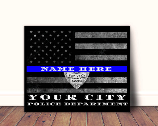 New York Police Department Police Officer Thin blue Line Gift Personalized Wall Art