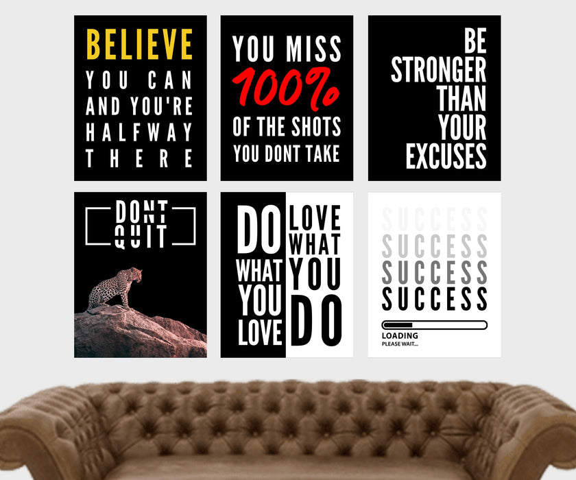 Success Motivational Wall Art Inspirational home decor SET OF 6