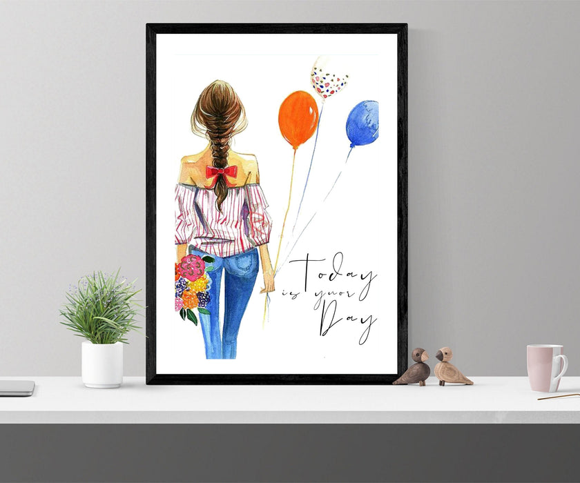 Feminist wall art, Fearless art print, fashion wall art, fearless girl, feminist gift, Girl Boss