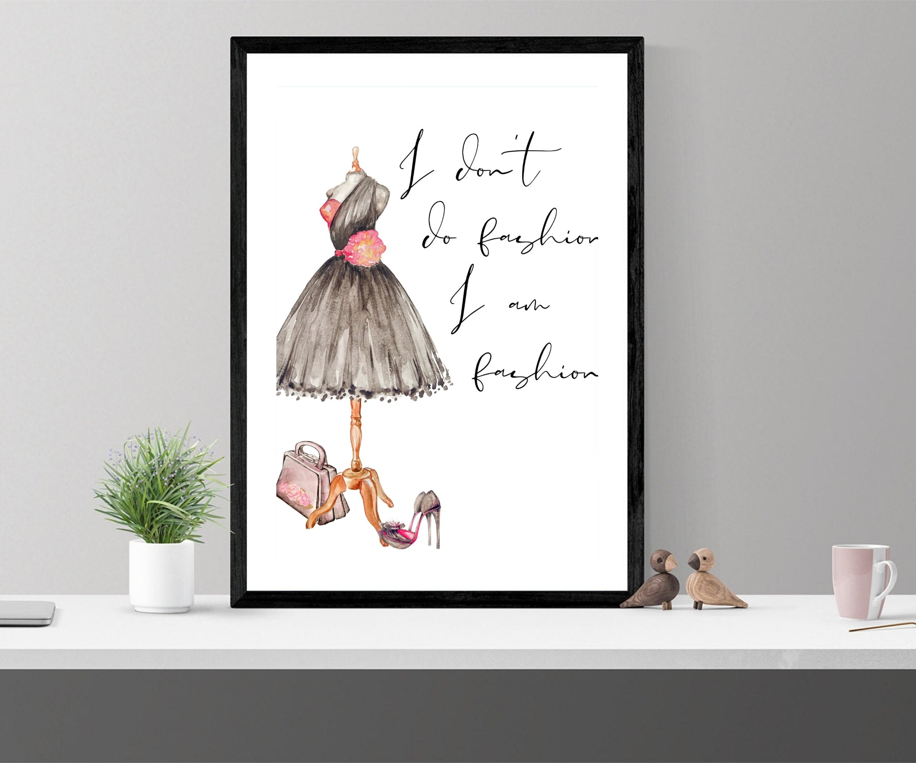 Fashion wall art, fearless girl, feminist gift, girl her, Feminist wall