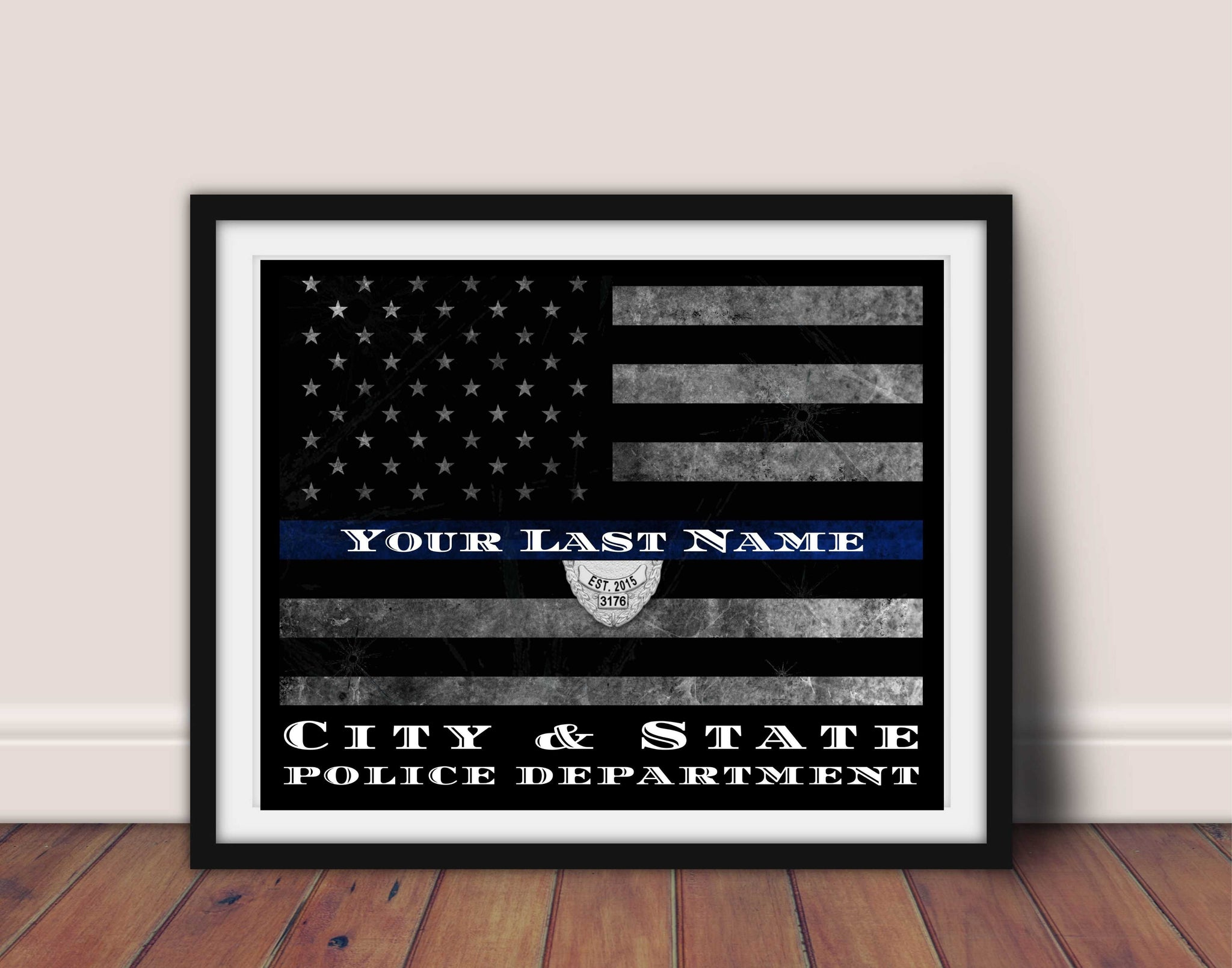 Personalized Thin Blue Line Flag custom wall art Framed for Police officer wall art or Sheriff