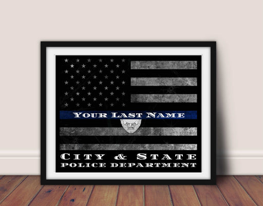Artwork Police Officer Thin Blue Line Flag Framed Art Custom Personalized