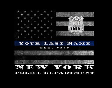 NYPD Customized Thin Blue Line Flag Police officer wall art gift