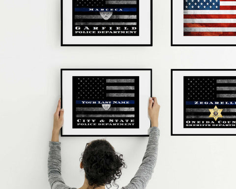 Personalized Thin Blue Line flag canvas print for Police officer or firefighter