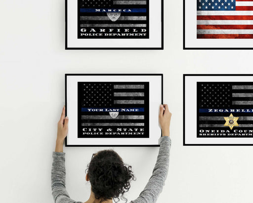 Personalized Thin Blue Line flag canvas print for Police officer or firefighter wall art decor