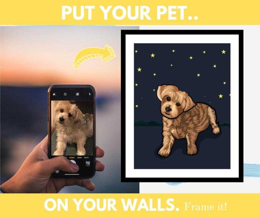 Pet portrait custom personalized framed wall art print for home wall decor