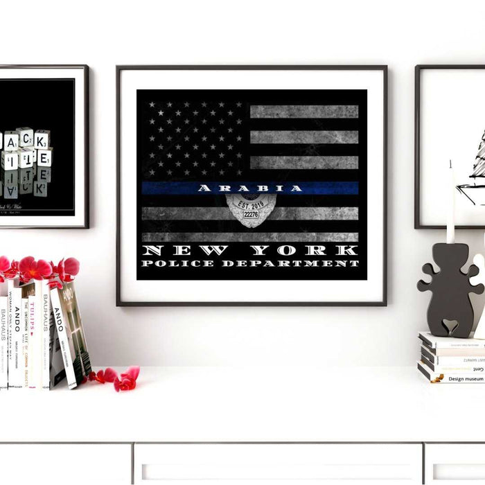 Custom Thin Blue Line Flag wall art Framed for Police officer wall art or Sheriff wall art decor