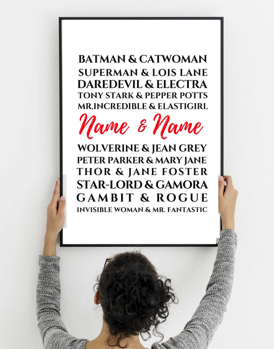Superhero Couples anniversary gift wall art decor Framed wall art decor