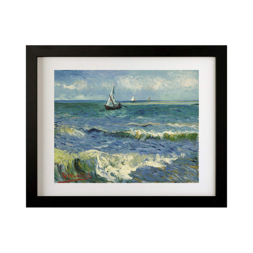 The Sea at Les Saintes Maries de la Mer by Vincent Van Gogh, Van gogh, Beach, Vincent Van Gogh, Canvas print, Giclee Print, Sailing