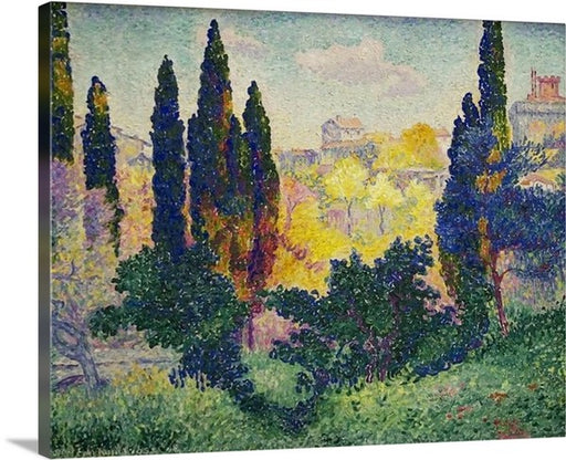 Cypresses in Cagnes by Henri-Edmond Cross, Cypresses in Cagnes, Henri-Edmond Cross, Classic Art, Canvas Art Print