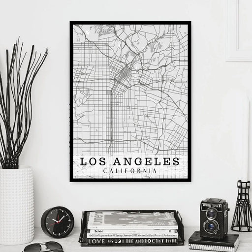 Los Angeles map Wall Art Print Framed home decor California
