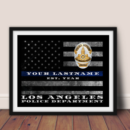Custom Thin Blue Line Flag Los Angeles police department Police officer gift LAPD wall art decor