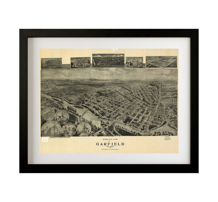 Garfield New Jersey Framed Vintage Wall Art Print