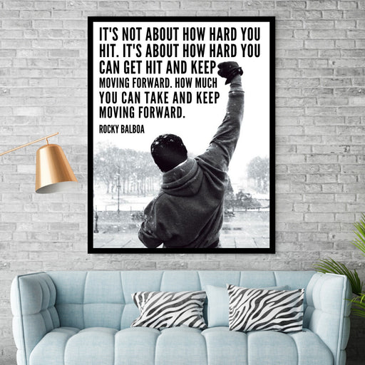 Rocky Balboa Quote Framed wall art or canvas art print home decor
