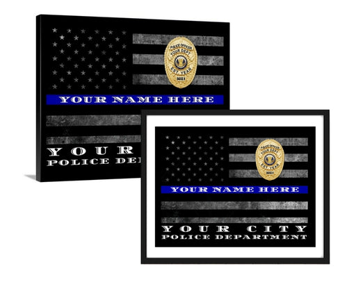 Artwork Personalized Thin Blue Line Police Officer Gift Wall Art