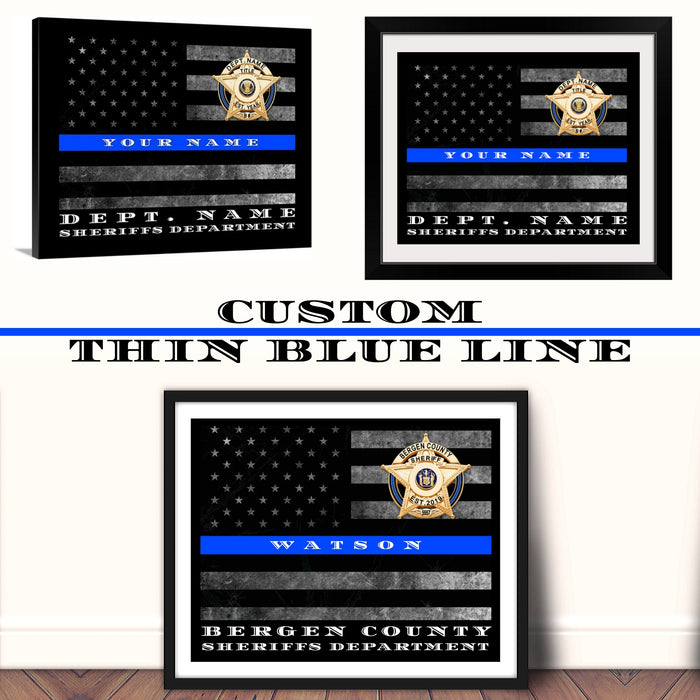 Sheriff office Custom Thin Blue Line Flag home wall decor art Framed for Sheriff wall art decor