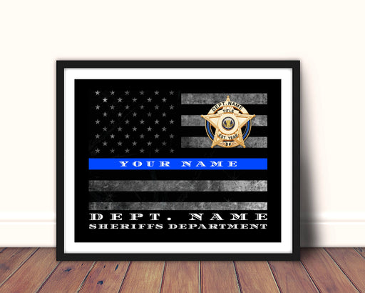 Sheriff office Thin Blue Line Flag Framed wall art decor art