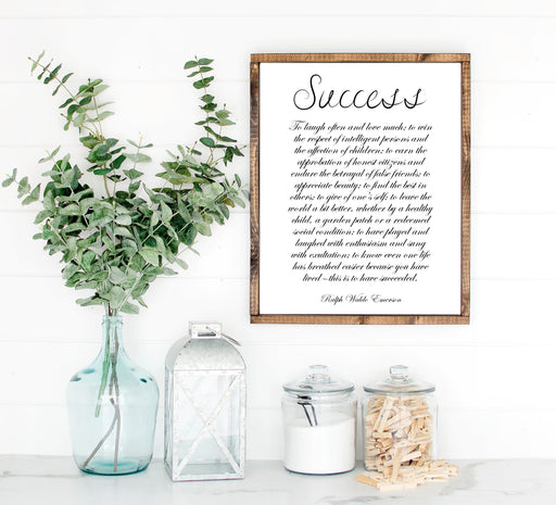 Ralph Waldo Emerson Success Quote Inspirational Farmhouse wood sign
