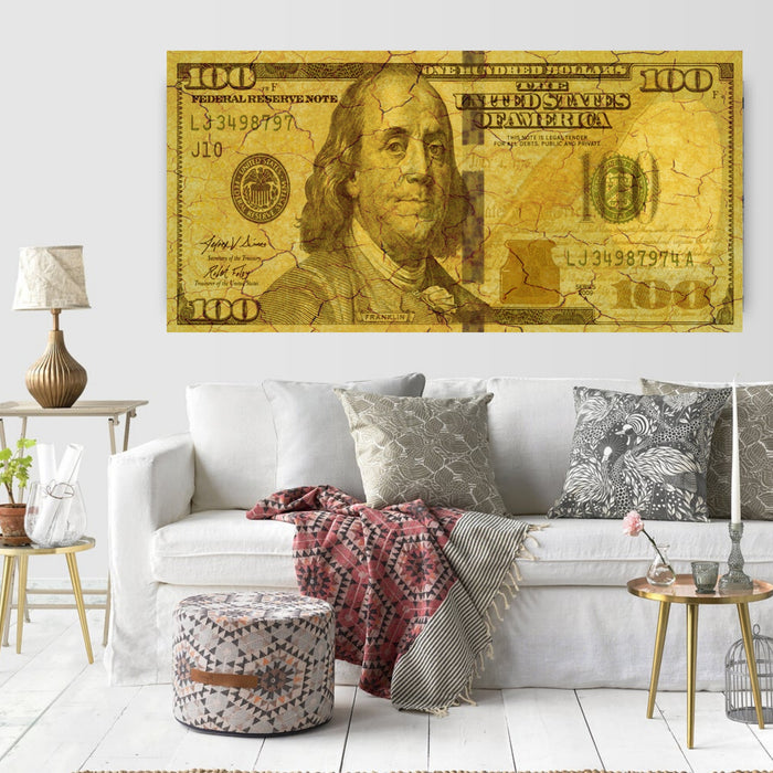 100 Dollar Bill Canvas Print Wall art