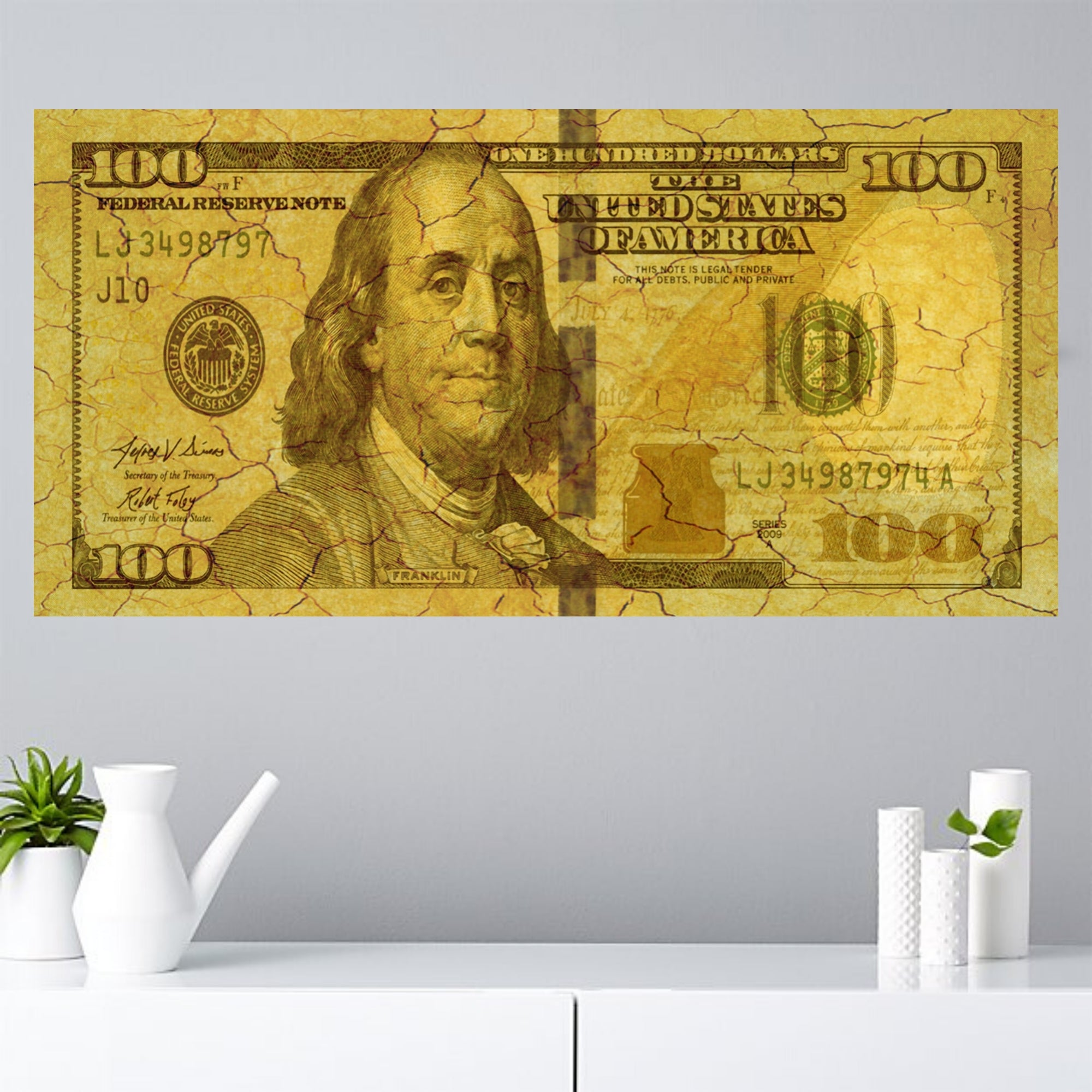 100 dollar bill canvas print ready to hang wall art gold Pop