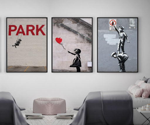 Banksy Graffiti Street Art Framed Wall Art Decor Canvas Prints Set of 3