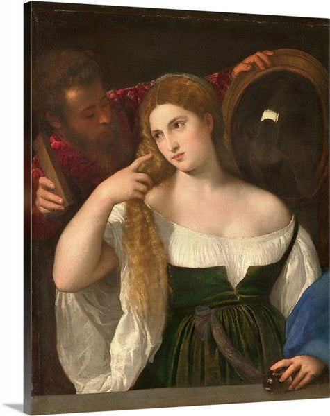 Woman with a Mirror (1515) by Titian, Woman with a Mirror, Titian, Classic Art, Canvas Art Print