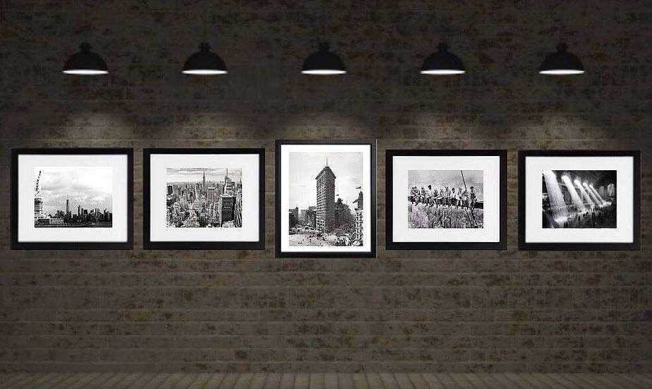 New York city art prints framed Set of 5 Black and White vintage photography wall art decor