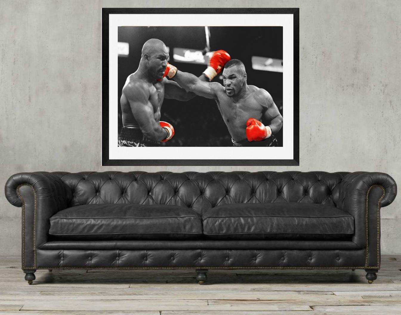 Mike tyson Portrait or Mike Tyson vs Holyfield Boxing Fighter Wall Mural on Canvas, Framed art print or poster
