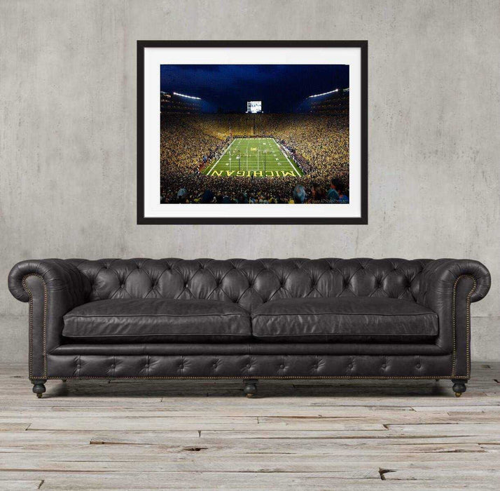 Michigan Wolverines football stadium art print framed for home wall decor wall art decor