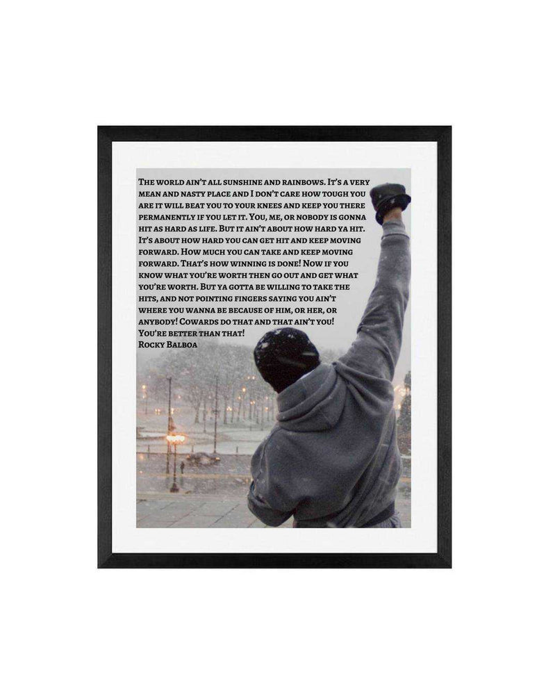 Rocky Balboa Poster with Inspirational quote, Rocky Balboa Movie poster, framed print, canvas or art print