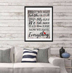 First We Had Each Other Then We Had You, Personalized Family Wall art