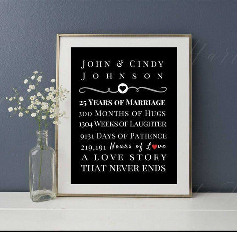 Wedding gift, Anniversary gift, Wedding Anniversary, Anniversary, 5 year, 10 year, 25 year, wall art, LYRIC print