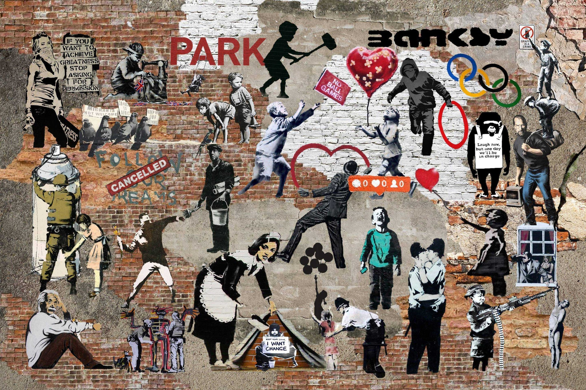 Banksy Graffiti Street Art Collage
