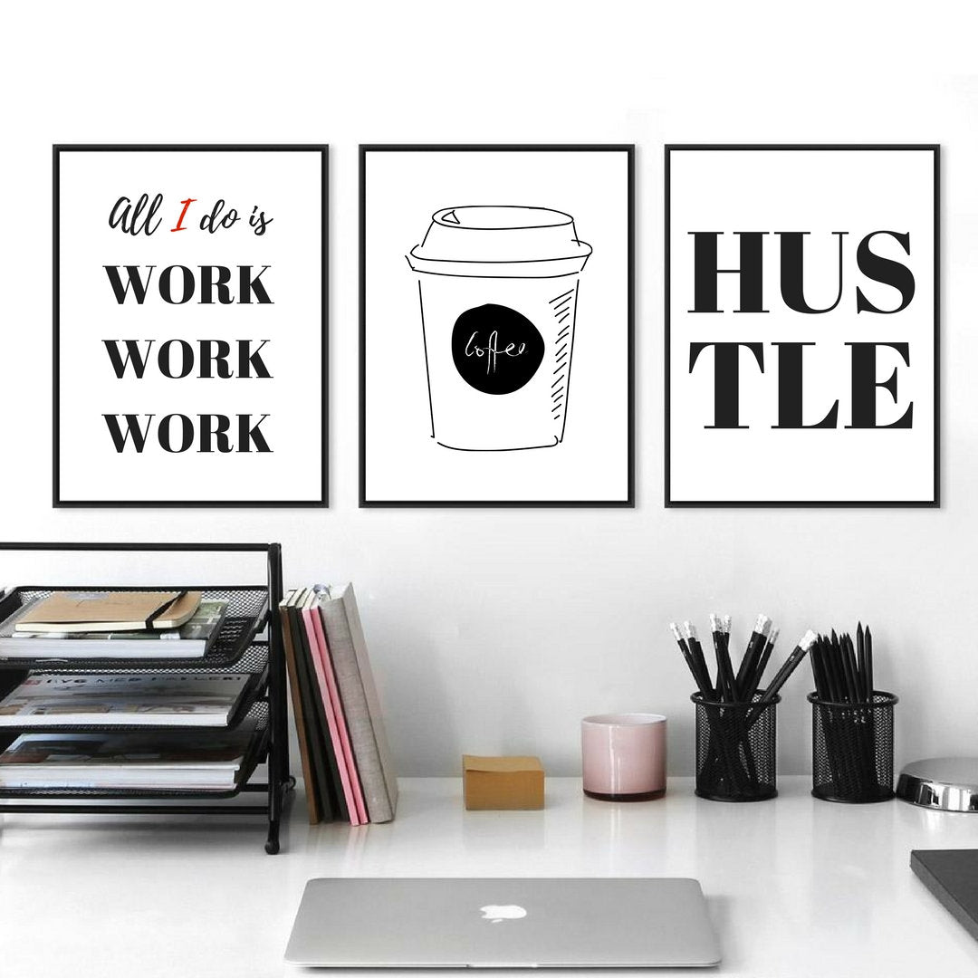 COFFEE, HUSTLE, WORK wall art, Set of 3, Motivational Quote, Modern Art, Never give up, Coffee Poster, Motivational print , Wall art