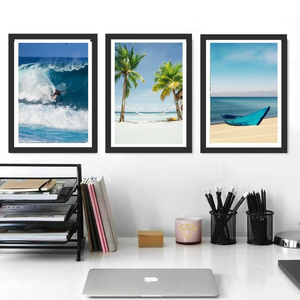Set of 3 Prints, Surf, Palm, Beach decor, Coastal Wall Art, Canvas art, Los Angeles Beach,State wall art, Palm Tree print, Beach poster
