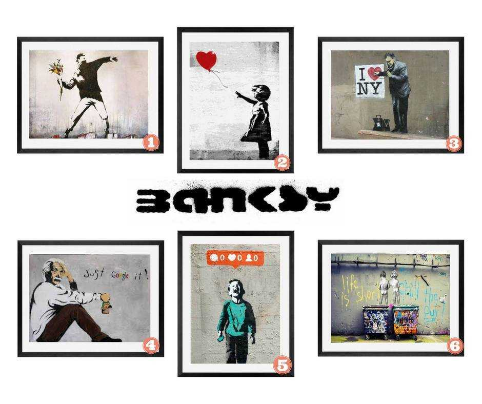 Banksy Graffiti street wall art prints collection set of 6