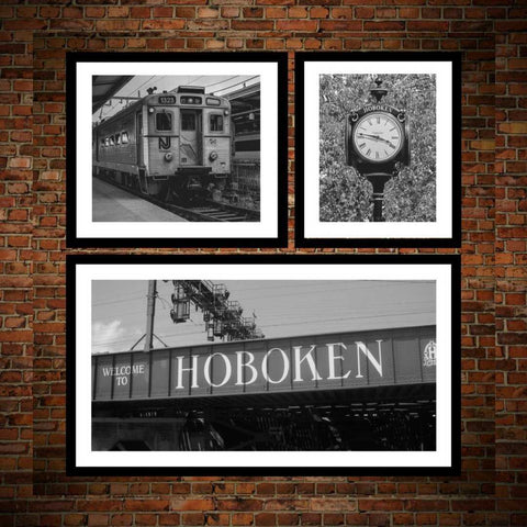 Hoboken wall art prints framed, Set of 3 Hoboken New Jersey wall art prints photography