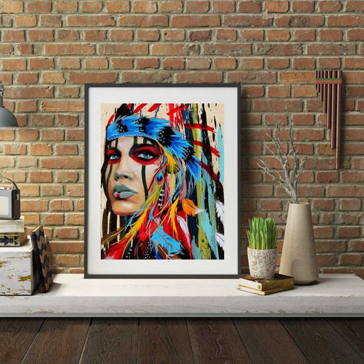 Native American Framed wall art print decor feminist art gift decor