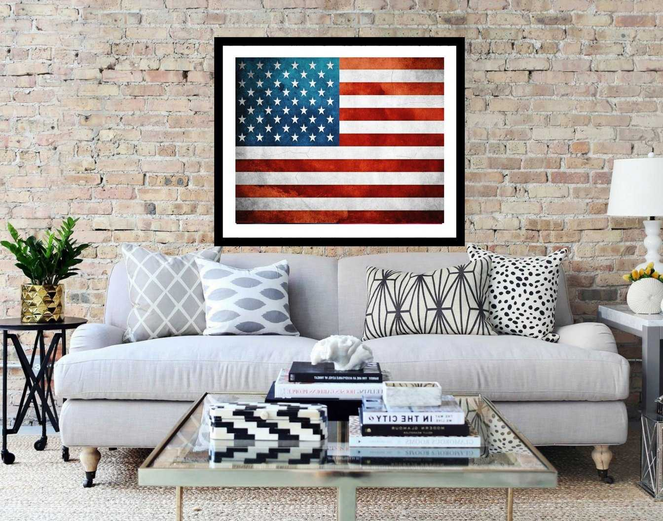 USA Flag, State wall art, Vintage American Flag Print