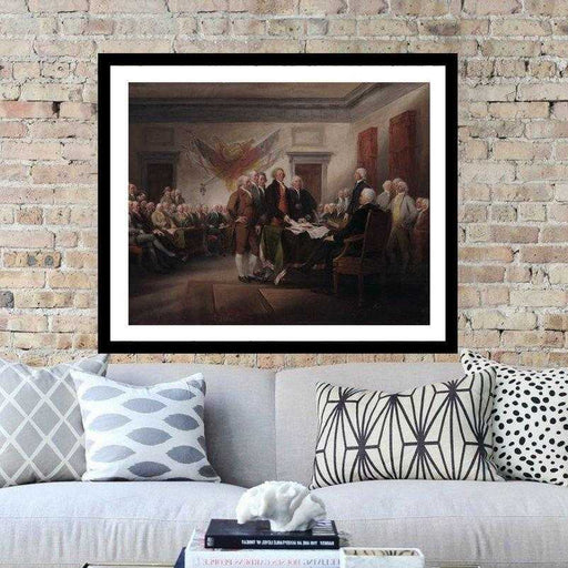 The Declaration of Independence signing wall art framed print