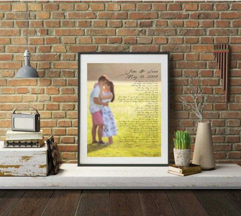 Wedding anniversary gift custom personalized with wedding vows or song lyrics