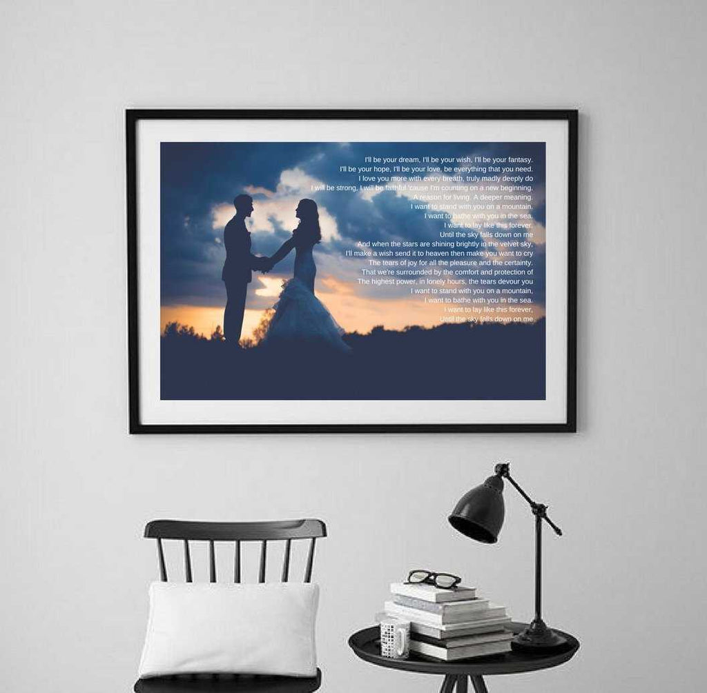 Custom personalized Wedding Anniversary gift for Paper anniversary with song lyrics wall art