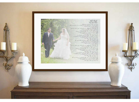 Custom personalized gift for wedding  first dance song lyric wall art framed
