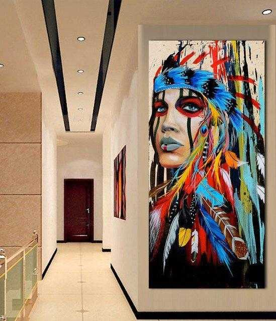 Native american Fearless girl Feminist wall art, Native american woman feminist gift