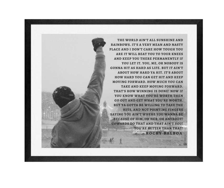 Rocky Balboa poster with inspirational quote framed or art print wall art