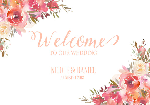 Wedding sign, Wedding welcome sign, Welcome Sign, Welcome mirror sign, Custom Personalized, Canvas Wedding sign, Ornate Welcome sign, Poster