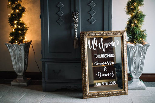 Wedding Welcome Sign Mirror Custom Text Design 20x30inch