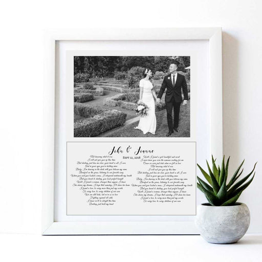 Wedding Anniversary Song Lyric gift framed first dance song wall art decor