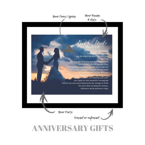 Wedding Anniversary gift, Custom Poem print, Paper anniversary gift, Wedding Vows, custom sign, Custom personalized, vows print