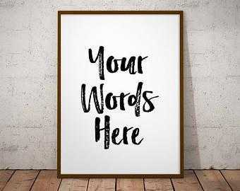 Word art custom framed art print